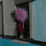 blau vor der tür - rosa kopf